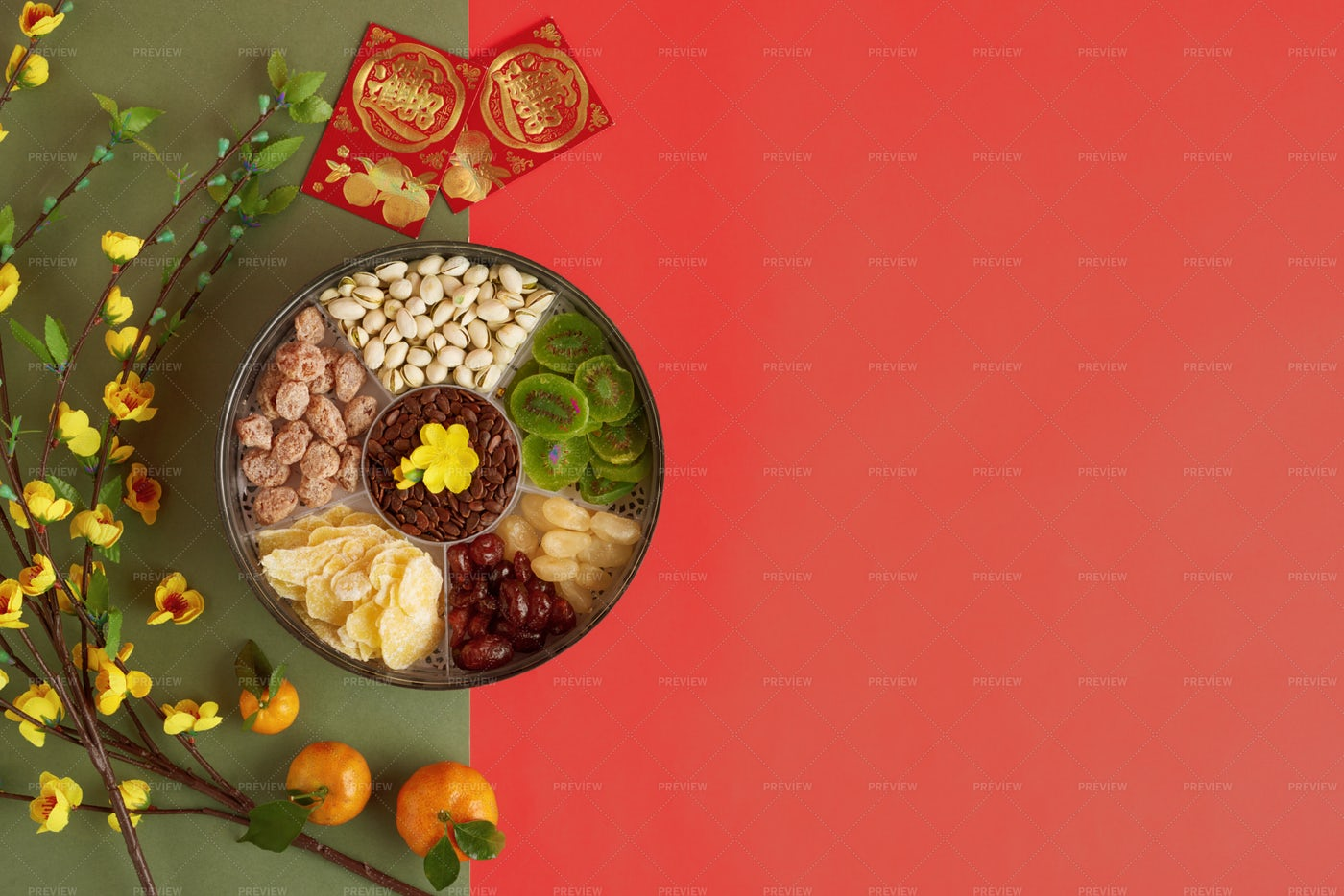 Sweets Snacks For Lunar Year: Stock Photos