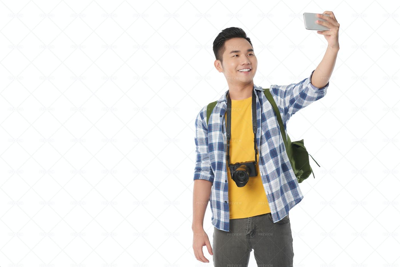 Asian Tourist Taking Selfie: Stock Photos