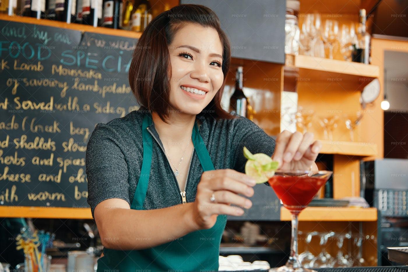 Garnishing Cocktail Glass: Stock Photos