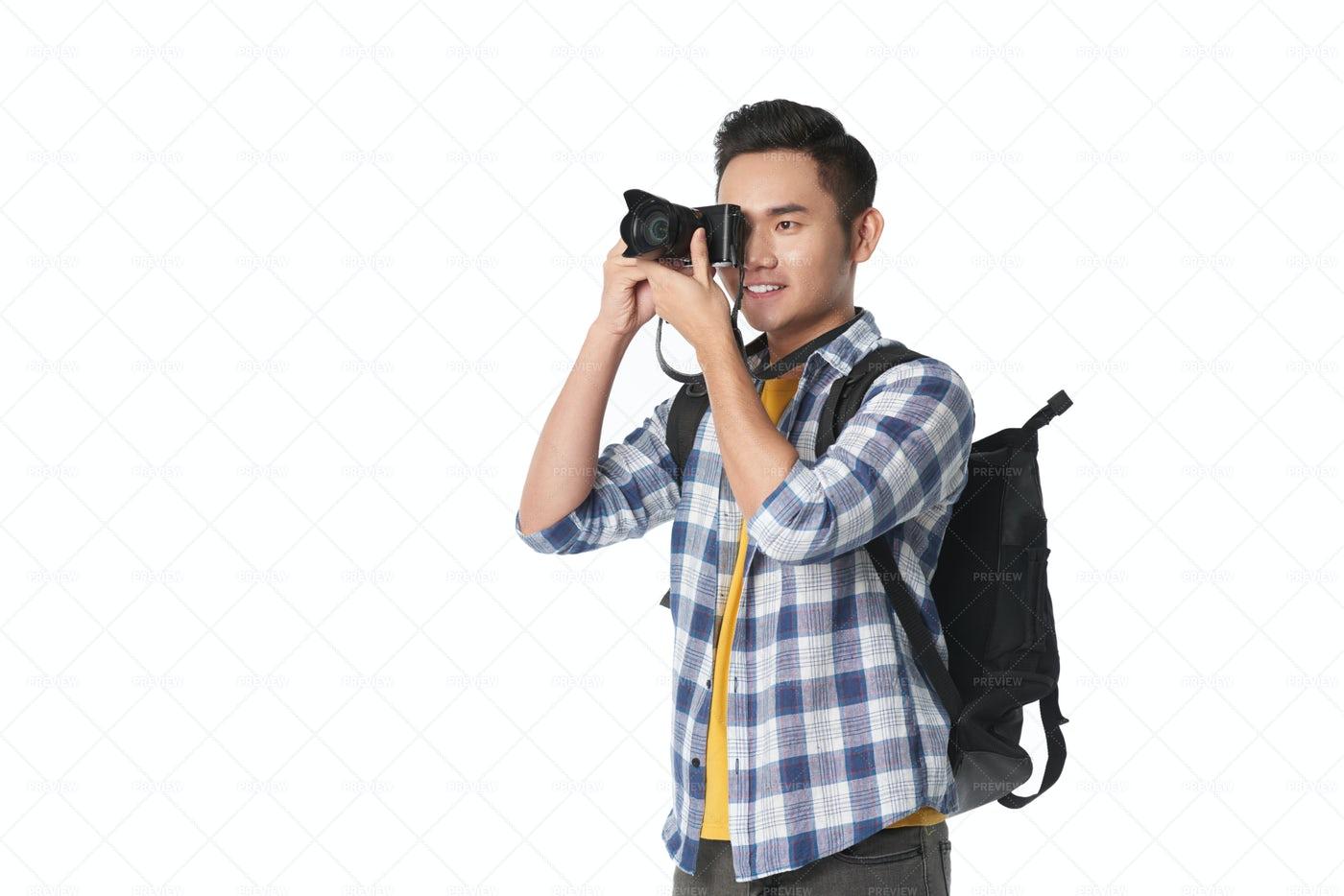 Smiling Tourist With Camera: Stock Photos