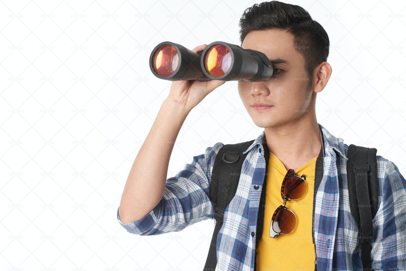 Handsome Tourist With Binoculars: Stock Photos