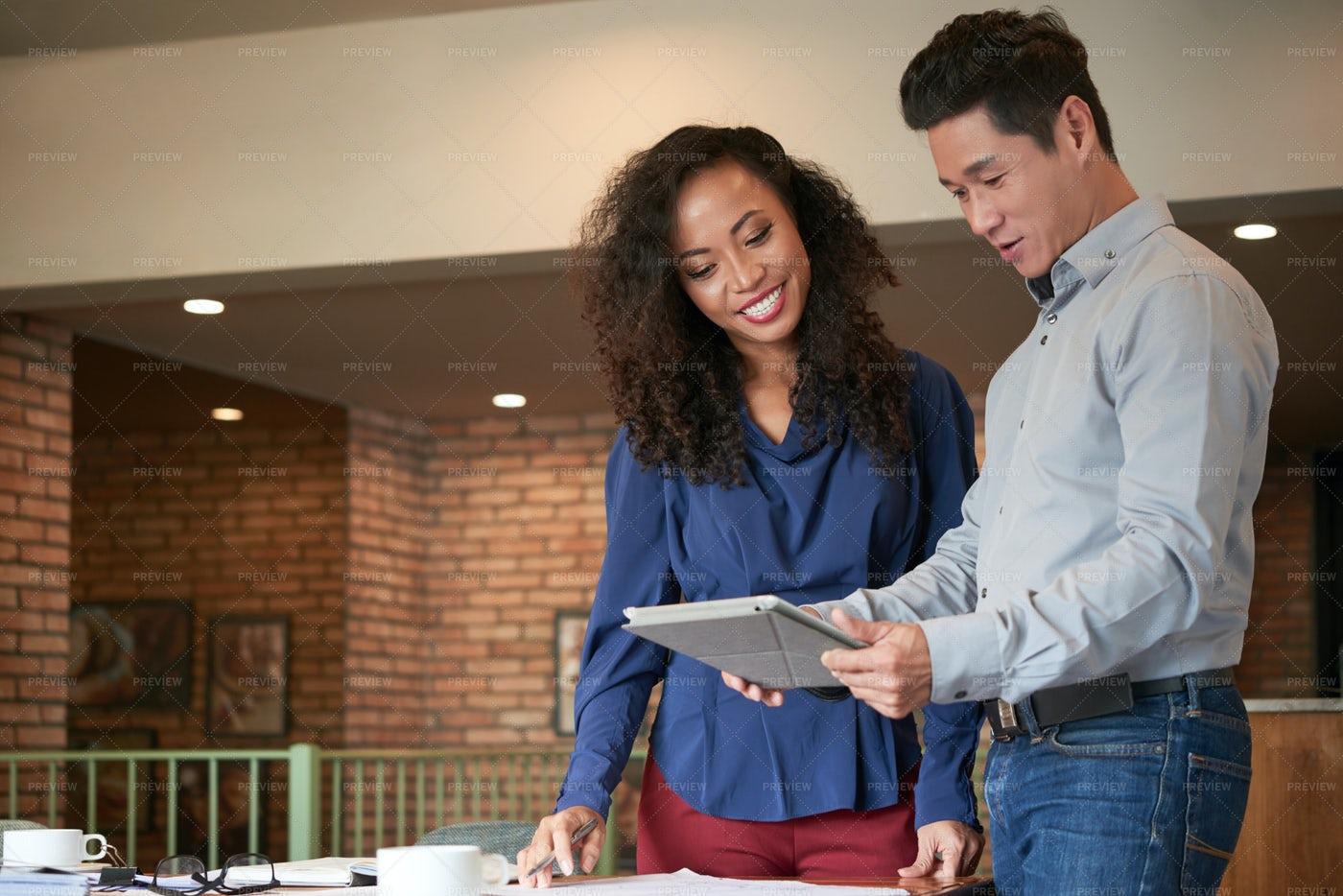 Analyzing Data On Digital Tablet: Stock Photos