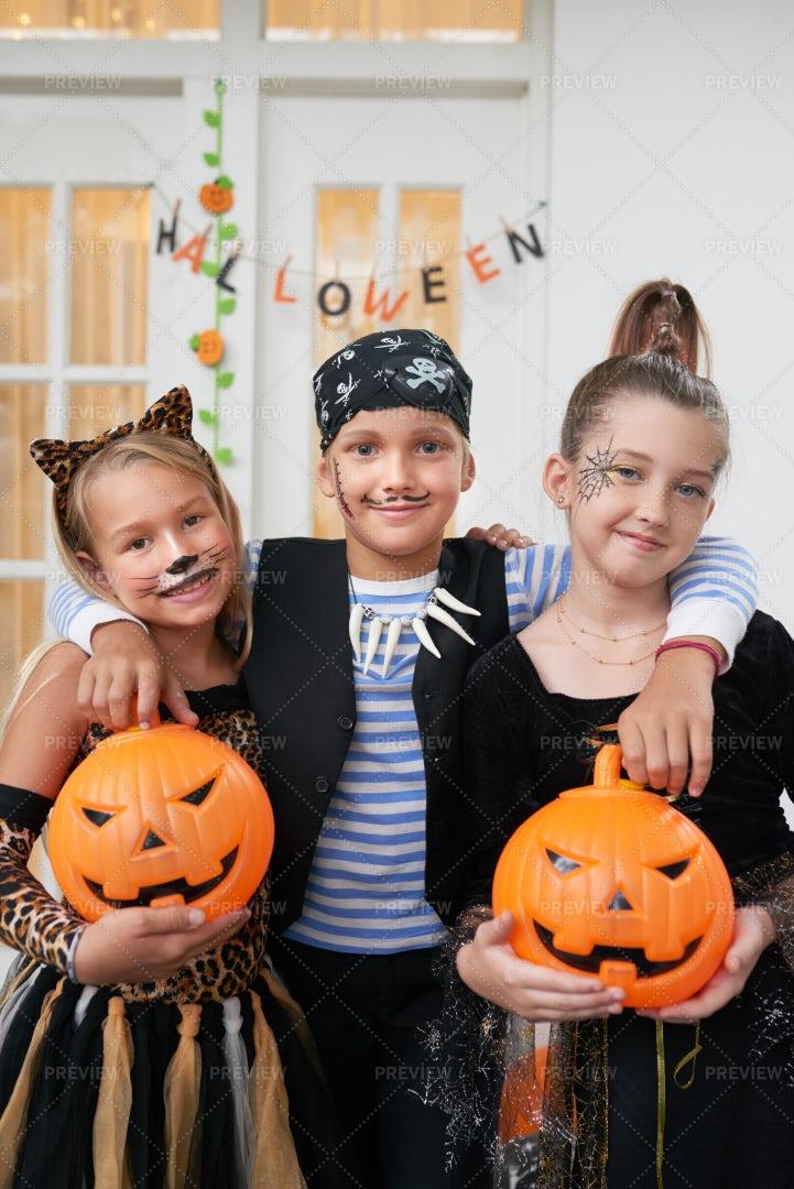 Happy Children In Halloween...: Stock Photos