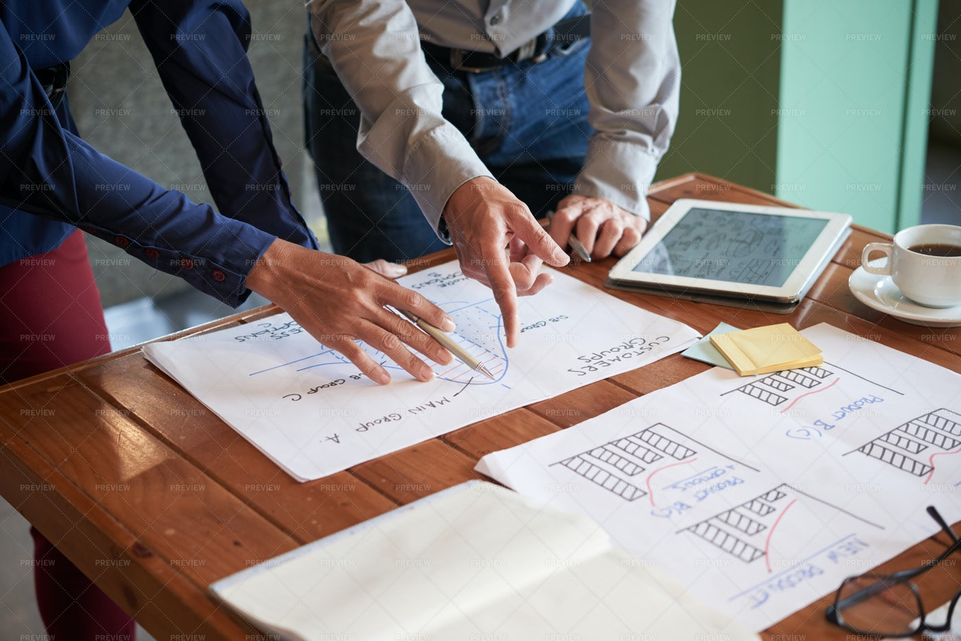 Drawing Business Reports: Stock Photos