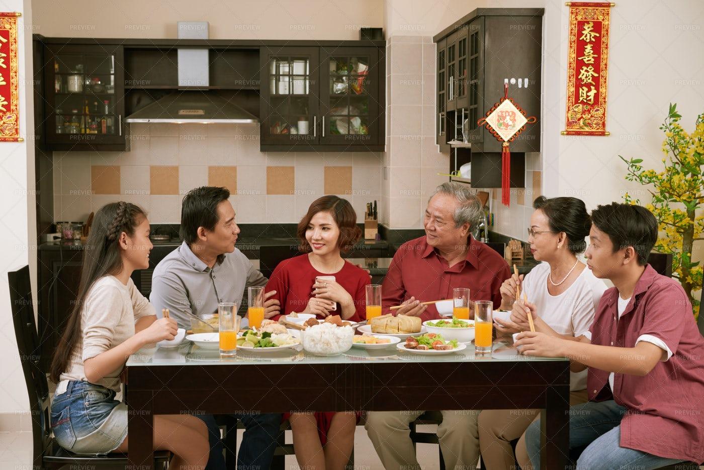 Big Family Celebrating Tet: Stock Photos