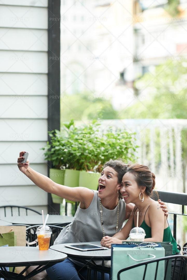 Taking Funny Selfie: Stock Photos