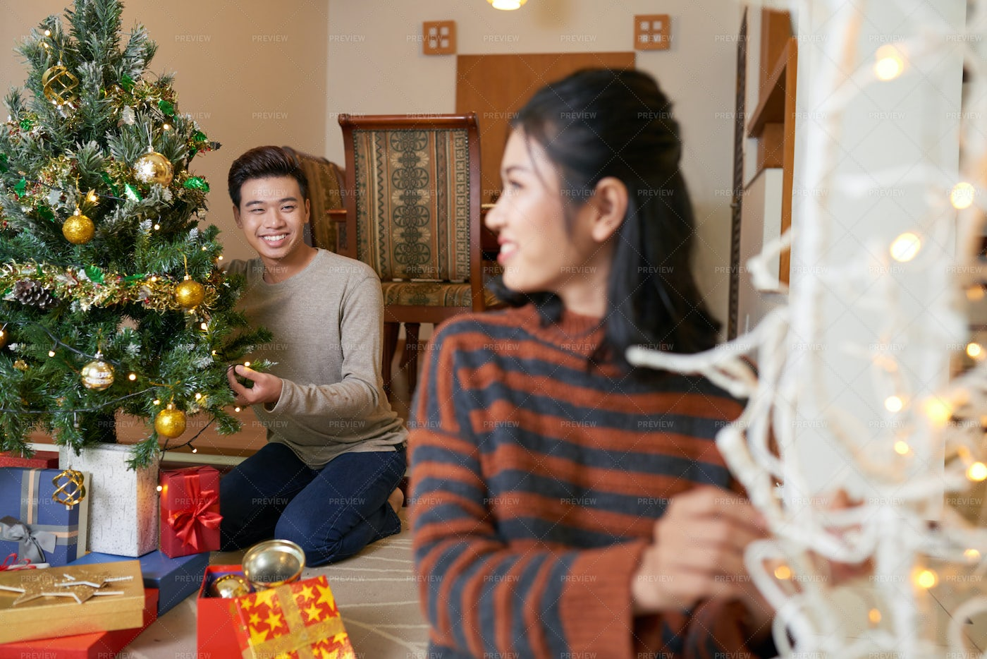 Decorating Tree With Lights: Stock Photos
