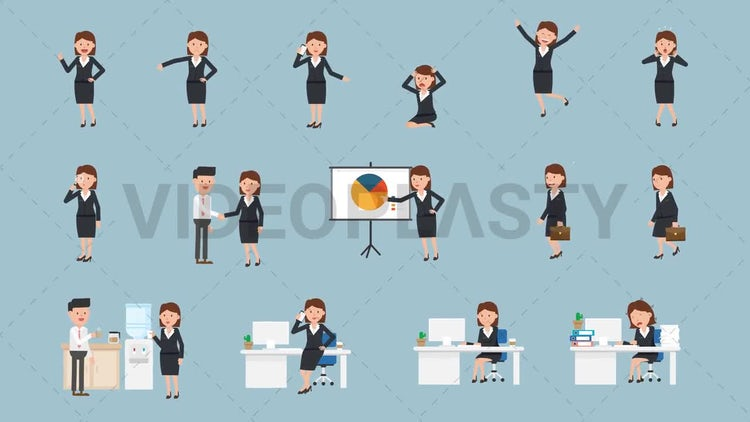 Female Character Pack - 15 Actions: Stock Motion Graphics