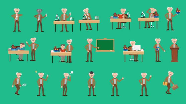 Professor Character Pack - 20 Actions: Stock Motion Graphics