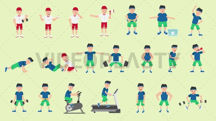 Male Fitness Character Pack - 21 Actions: Motion Graphics