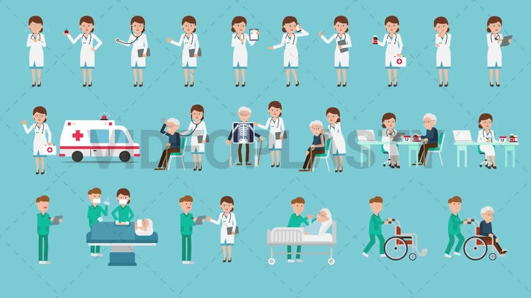 Medical Characters Pack - 22 Actions: Stock Motion Graphics