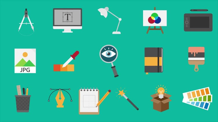 16 Design Icons Pack: Motion Graphics