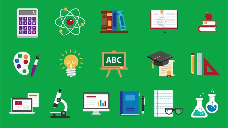 16 Education Icons Pack: Stock Motion Graphics