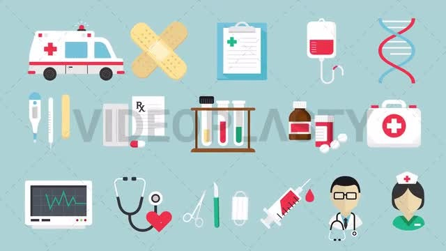 16 Medical Icons Pack: Stock Motion Graphics
