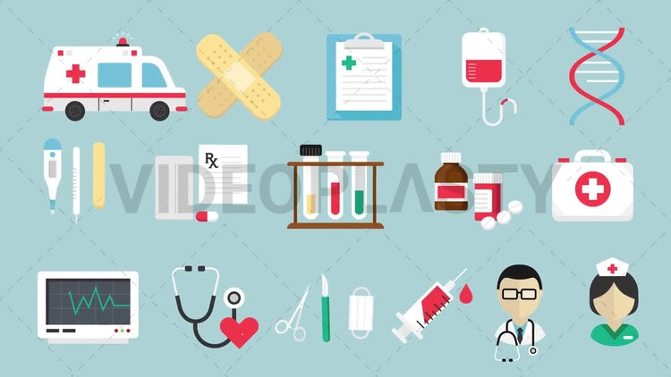 16 Medical Icons Pack: Motion Graphics
