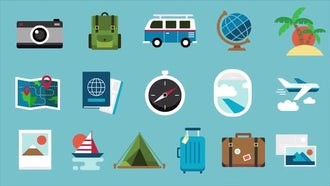 16 Travel Icons Pack: Motion Graphics
