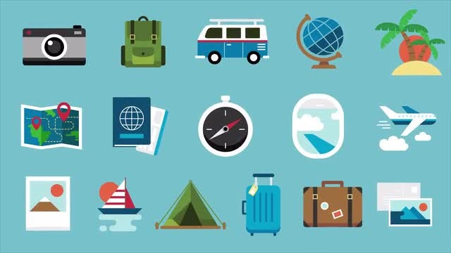 16 Travel Icons Pack: Stock Motion Graphics