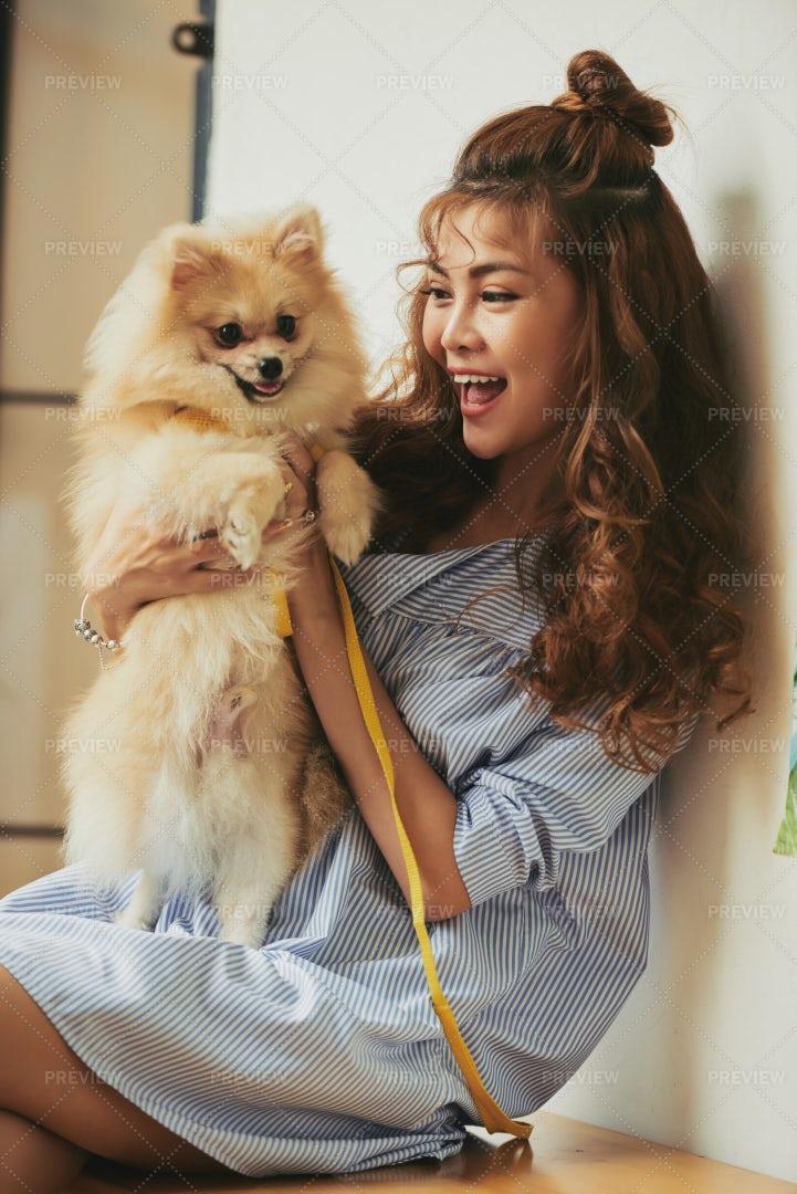 Woman With Dog: Stock Photos