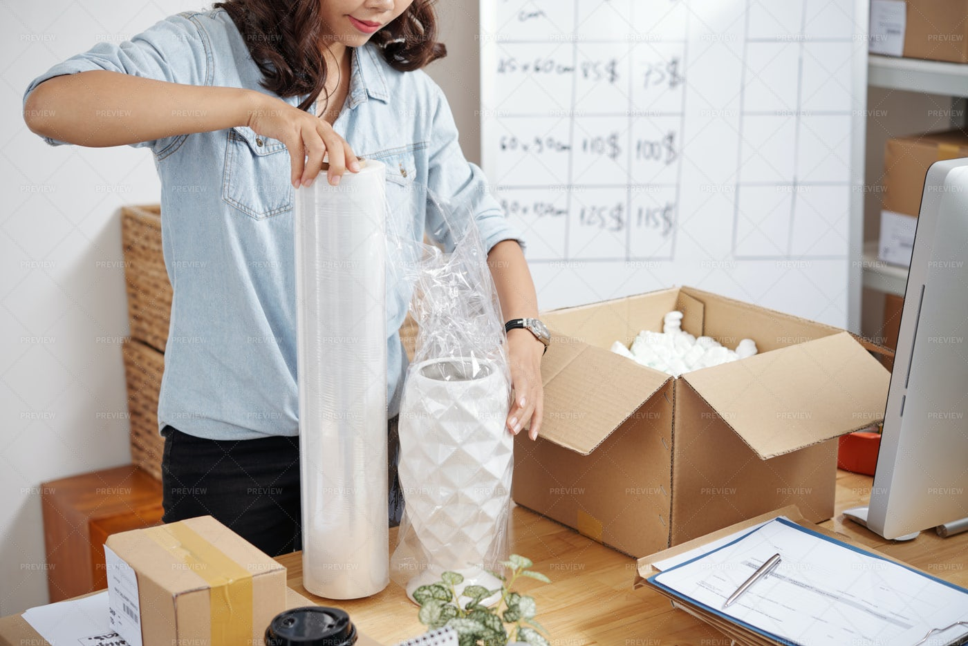 Seller Working With Order: Stock Photos