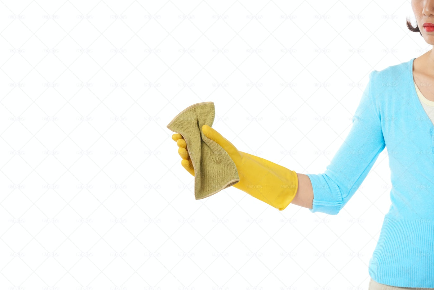 Woman Wrapped Up In Housework: Stock Photos