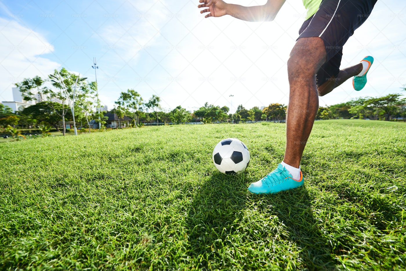 Intensive Training Of Soccer Player: Stock Photos