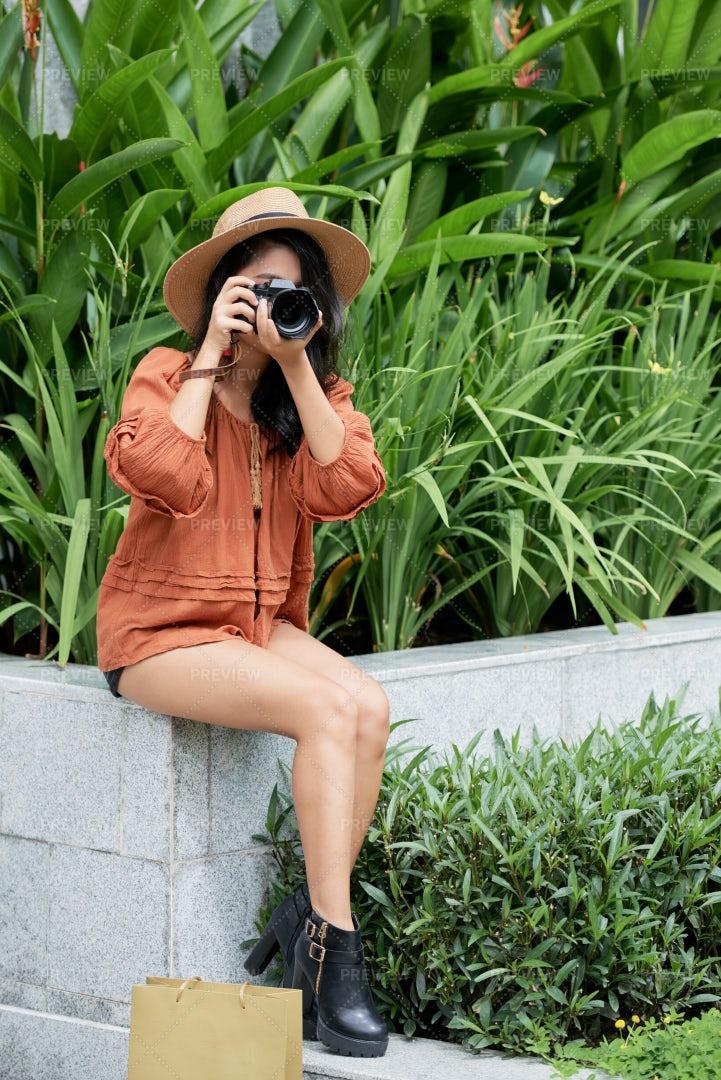 Young Woman Taking Photos: Stock Photos
