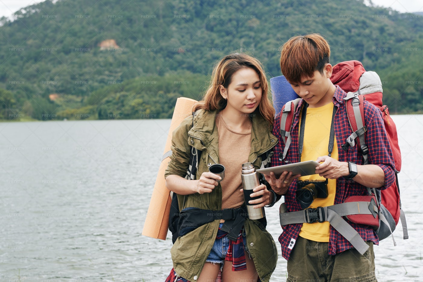 Hikers With Digital Tablet: Stock Photos
