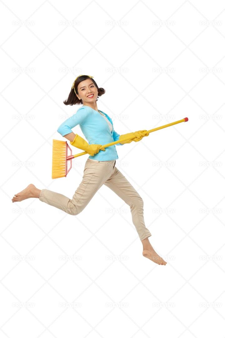 Having Fun During Housework: Stock Photos