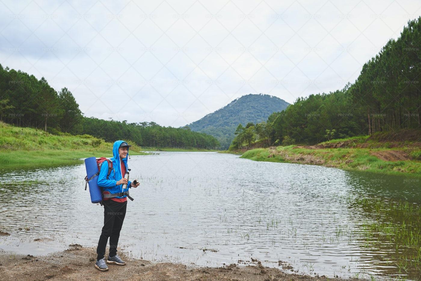 Hiker Drinking Tea: Stock Photos