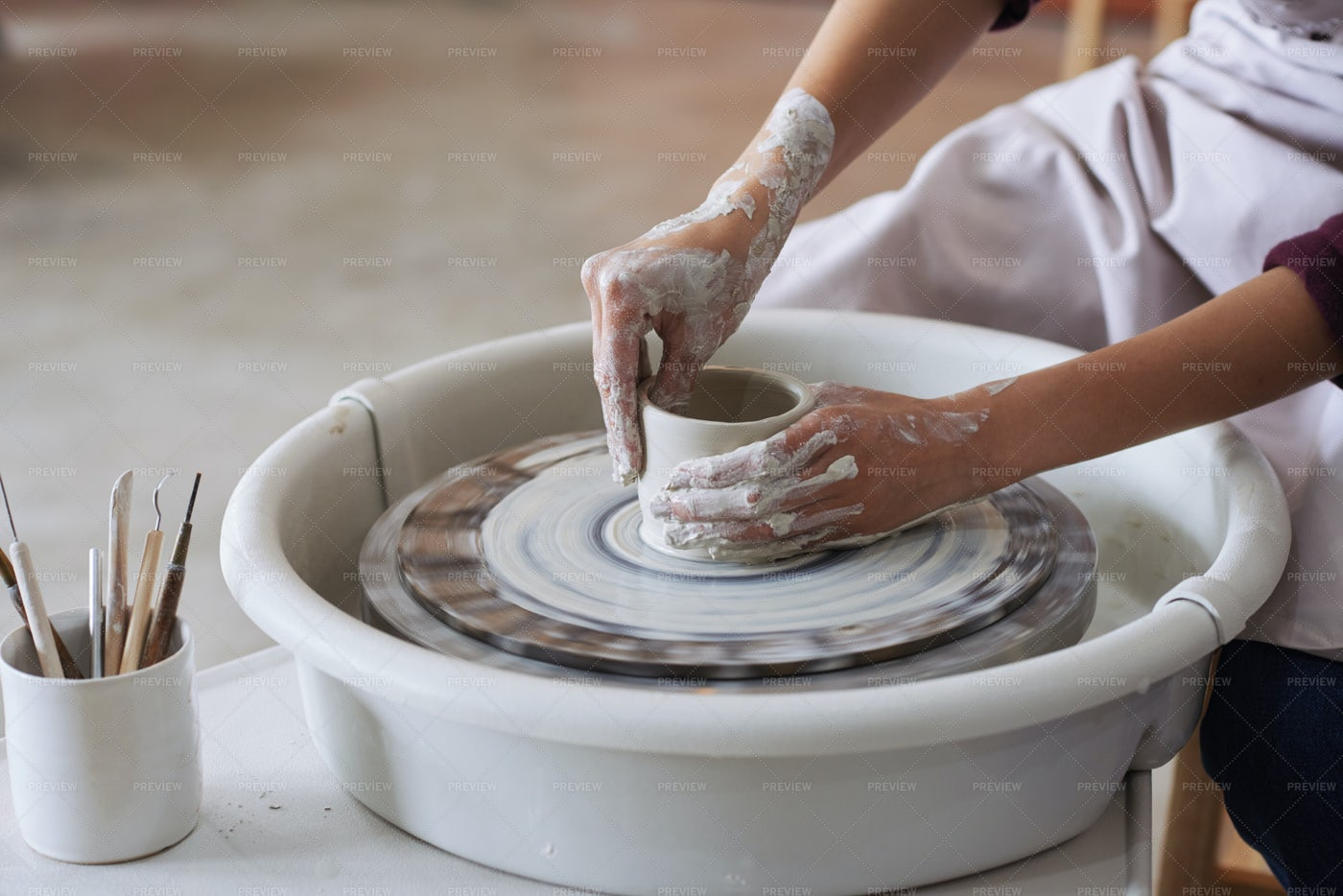 Working In Pottery: Stock Photos