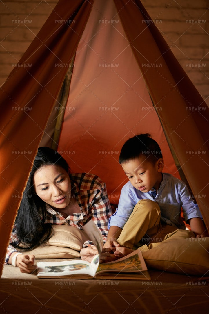 Mother And Son Reading: Stock Photos