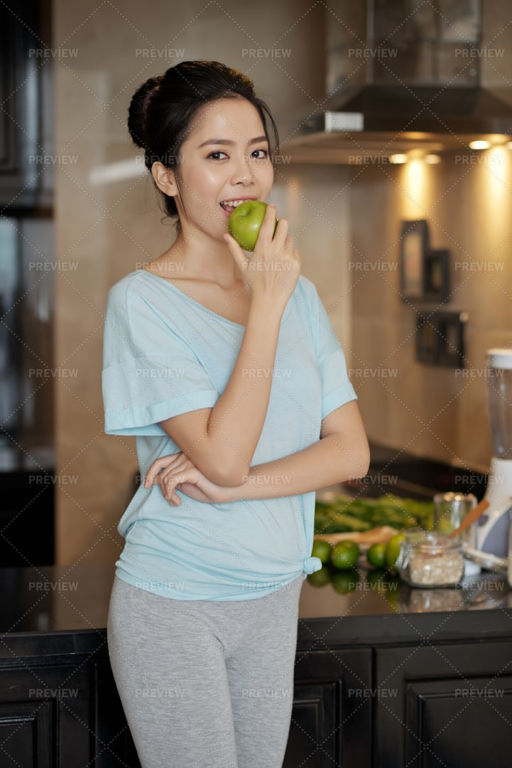 Fit Woman Eating Breakfast: Stock Photos