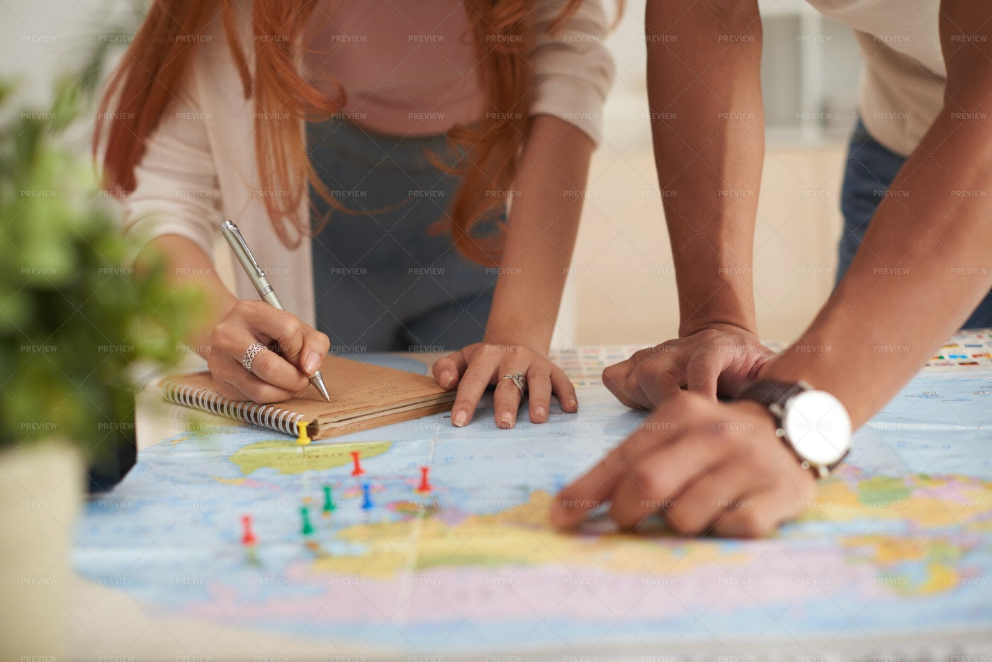 Young Couple Planning Vacation: Stock Photos