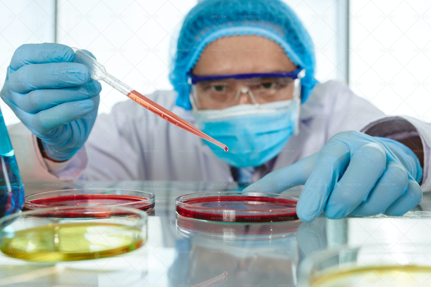 Working With Harzadous Reagent: Stock Photos