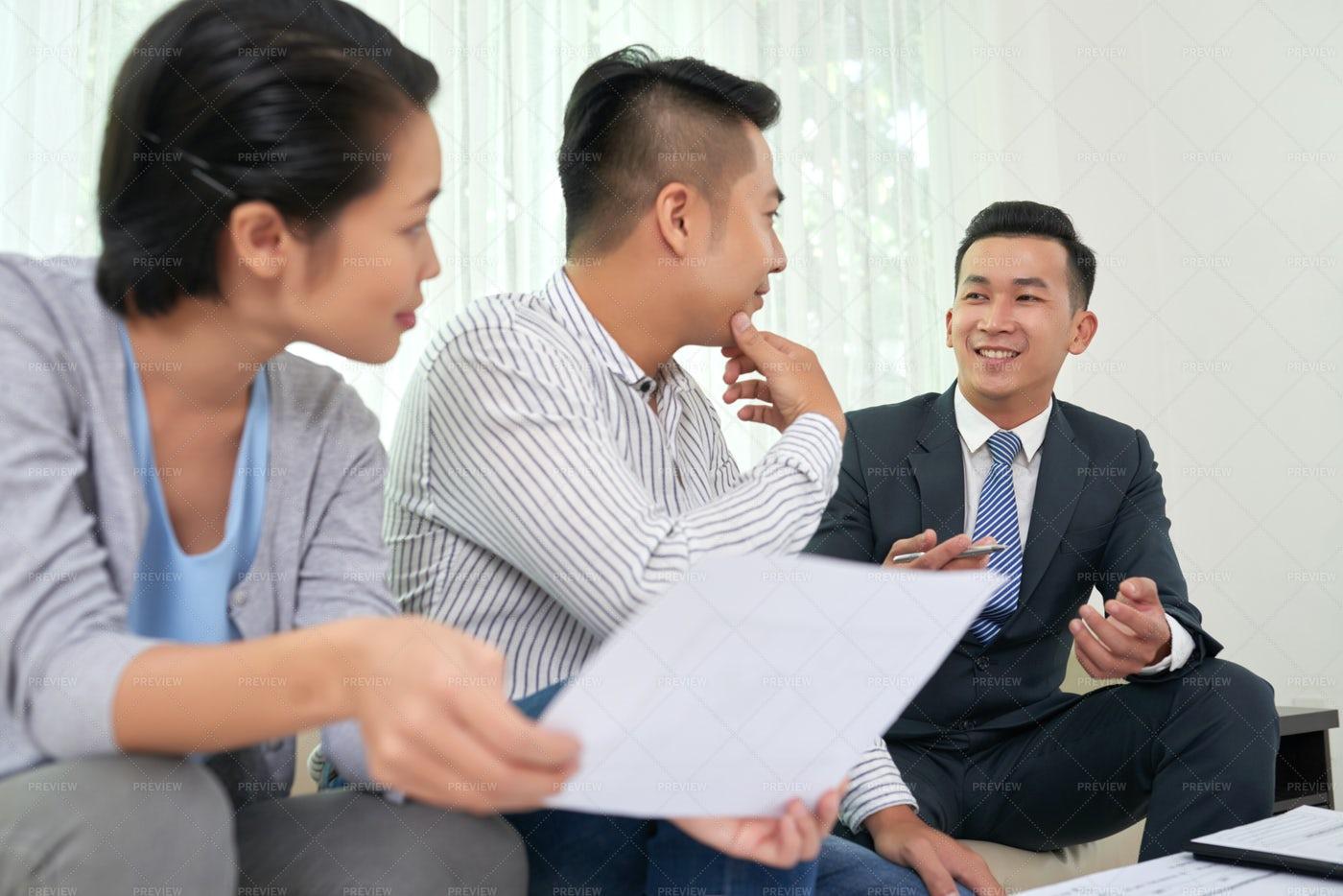 Consultation Of Estate Broker: Stock Photos