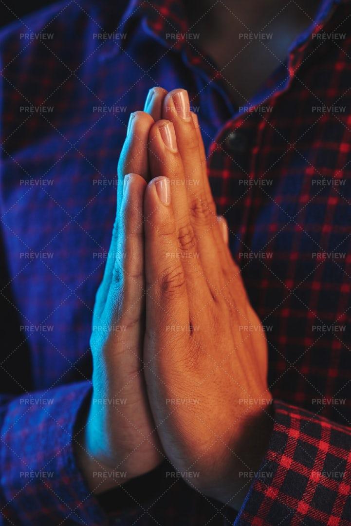 Crop Hands Holding In Namaste: Stock Photos