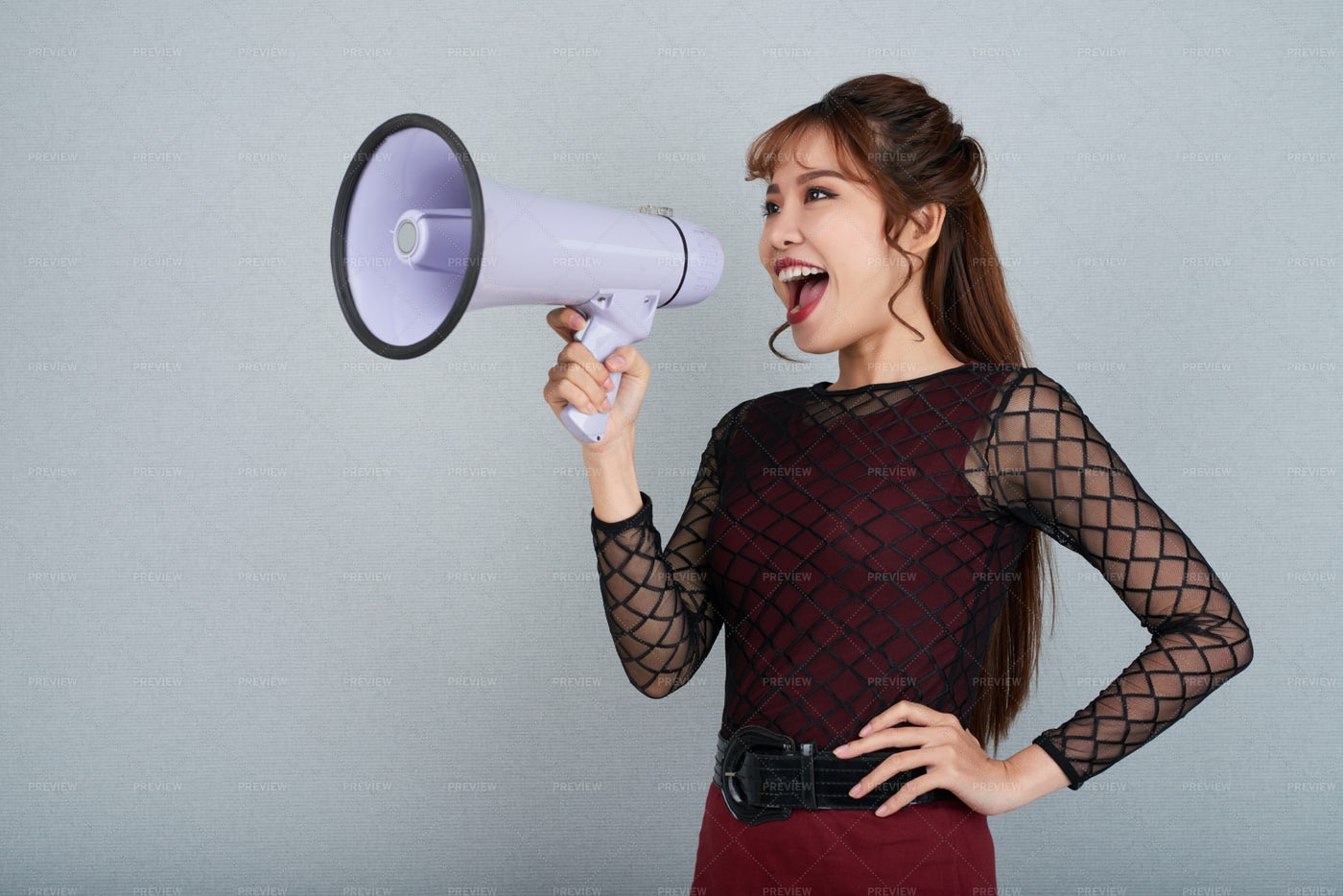 Shouting Into Megaphone: Stock Photos
