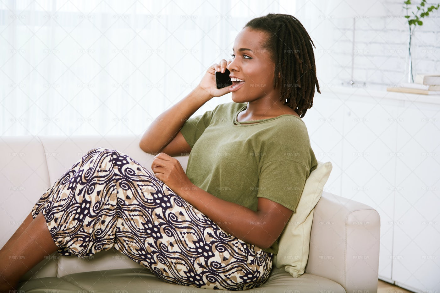 Woman Calling Her Friend: Stock Photos