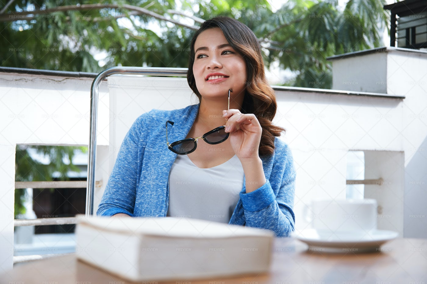 Pretty Woman In Cafe: Stock Photos