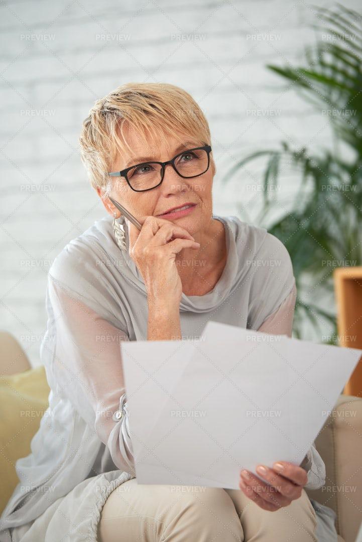 Contemplating Senior Business Woman: Stock Photos