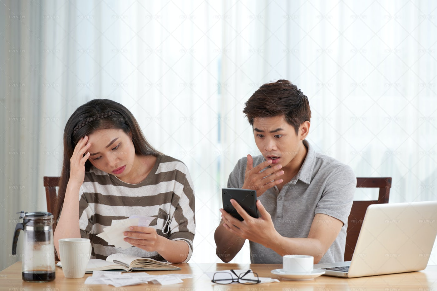 Calculating Bills And Tax Expenses: Stock Photos