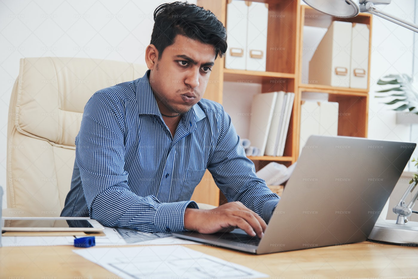 Tired Businessman At Laptop: Stock Photos