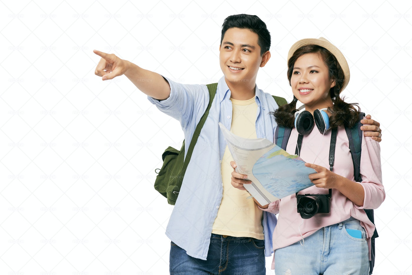 Travelers With Map: Stock Photos