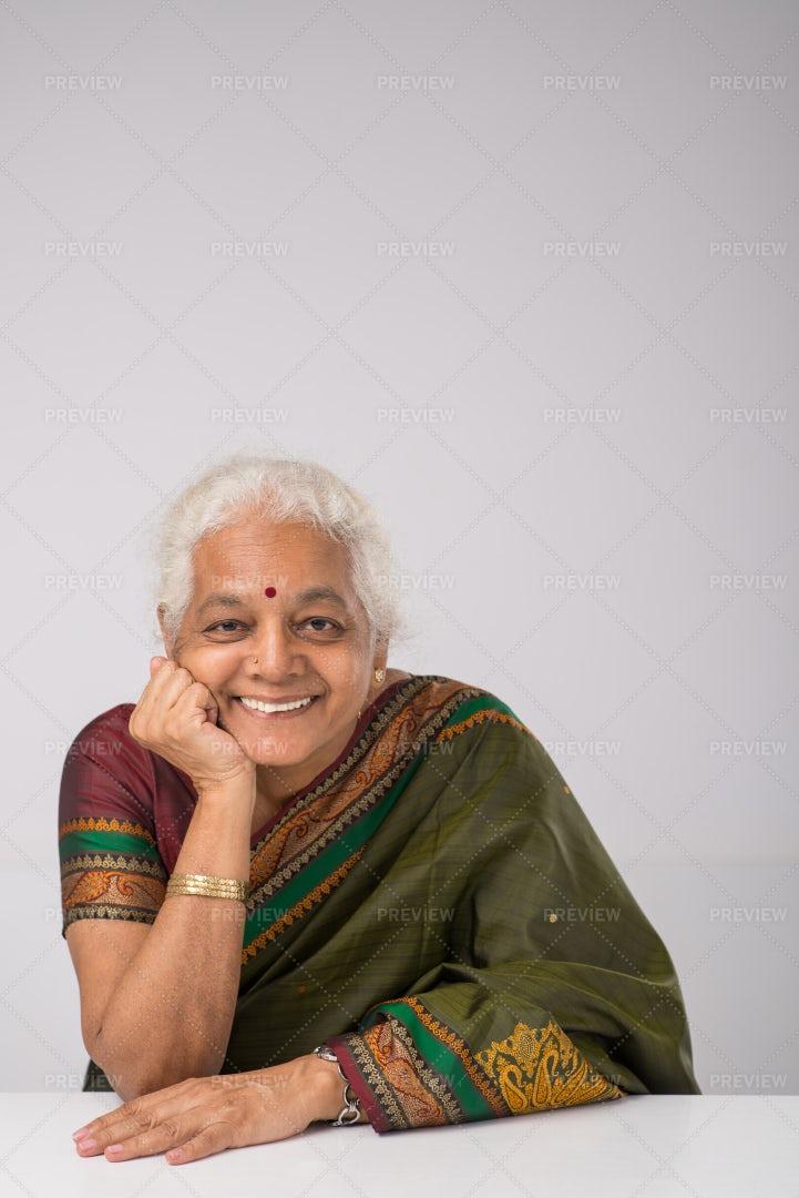 Cheerful Elderly Indian Woman: Stock Photos