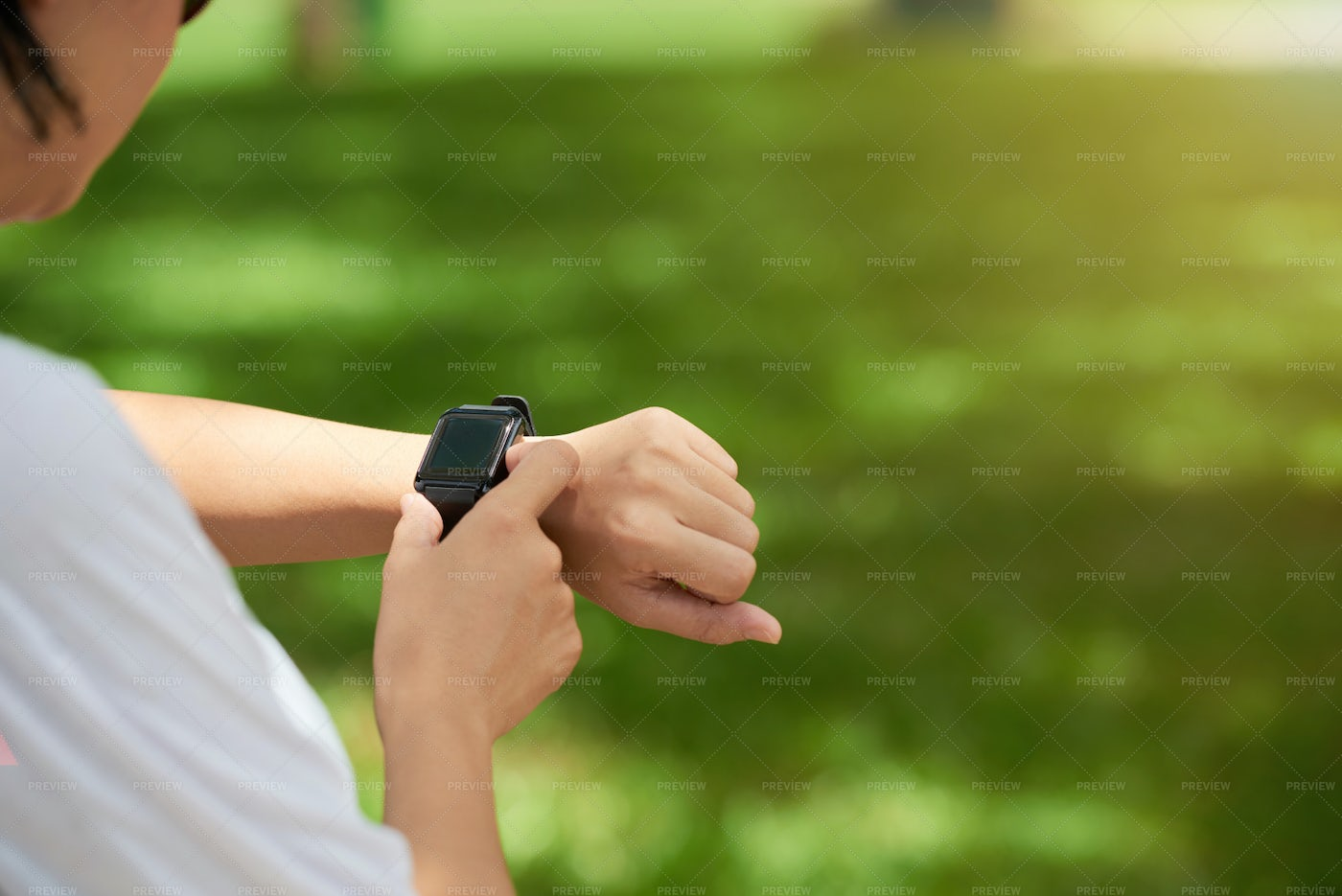 Fitness Watch On Womans Wrist: Stock Photos