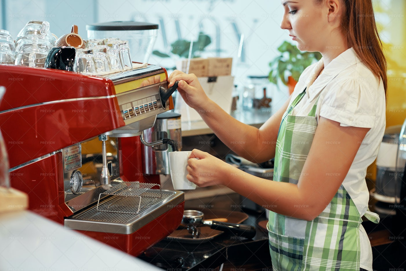 Young Barista Woman Making Coffee: Stock Photos