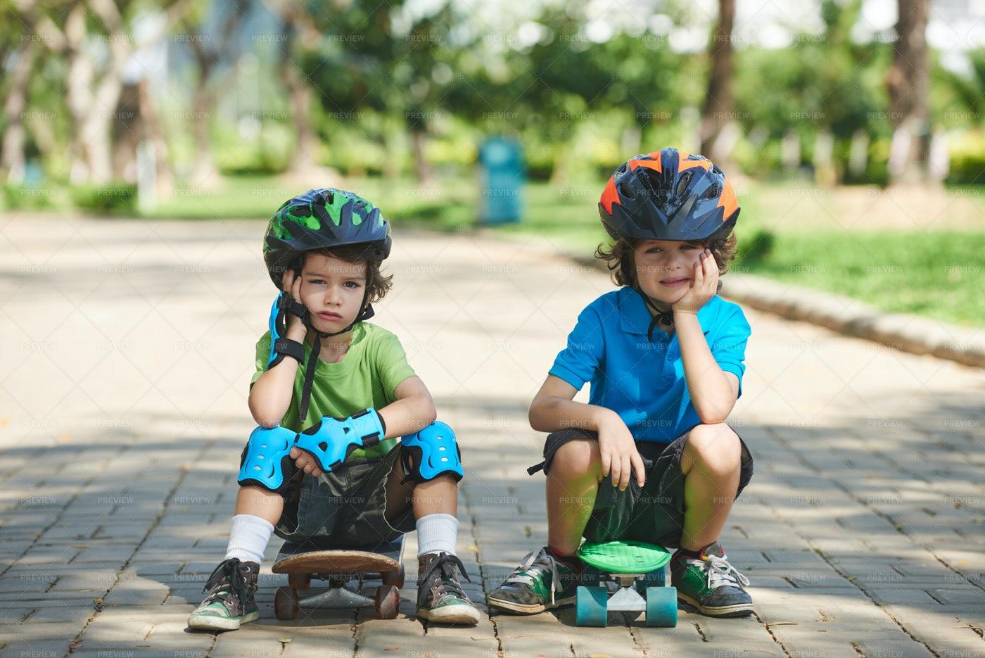 Two Little Skateboarders In Summer...: Stock Photos