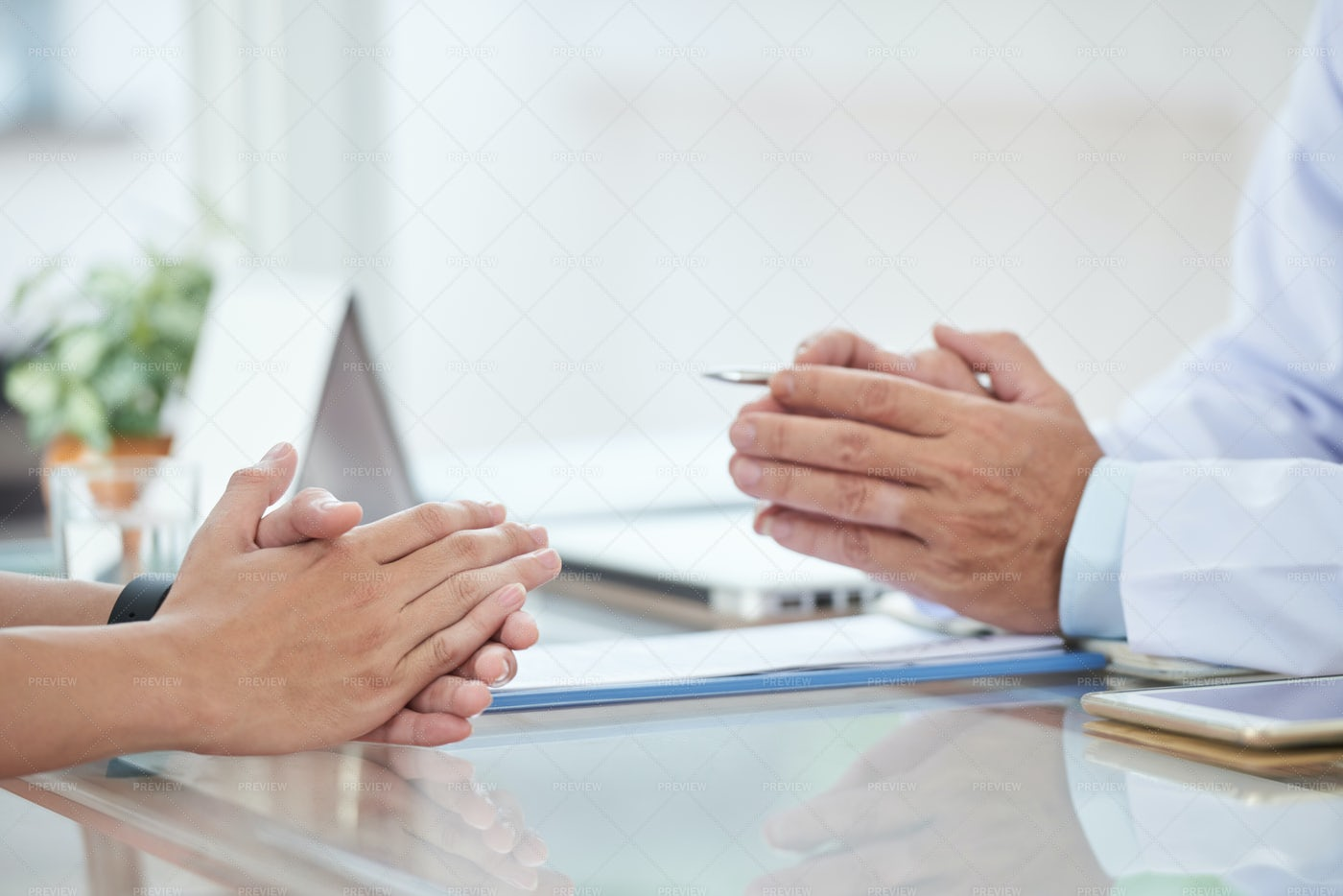 Talking With Doctor: Stock Photos