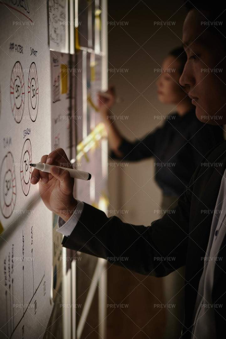 Drawing Charts And Schemes: Stock Photos