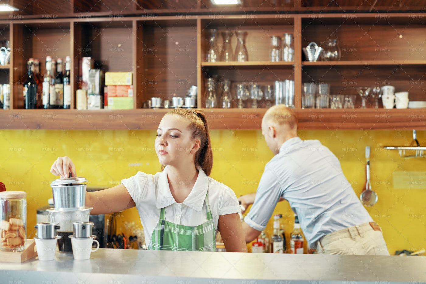 Coworking Barista And Manager At...: Stock Photos
